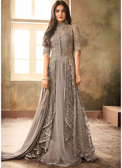 Layered Designer Abaya Style Suit in Grey