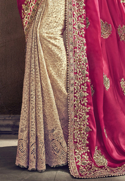 Half N Half Satin Saree in Pink and Beige