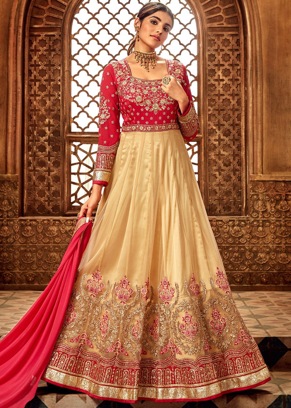Embroidered Net Anarkali in Beige and Pink