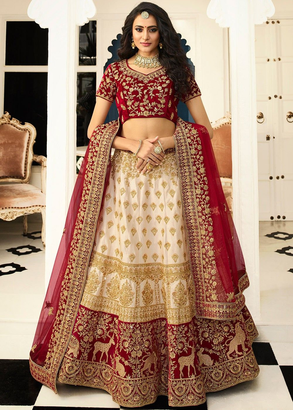 Beige Silk Bridal Lehenga with Maroon Velvet Choli