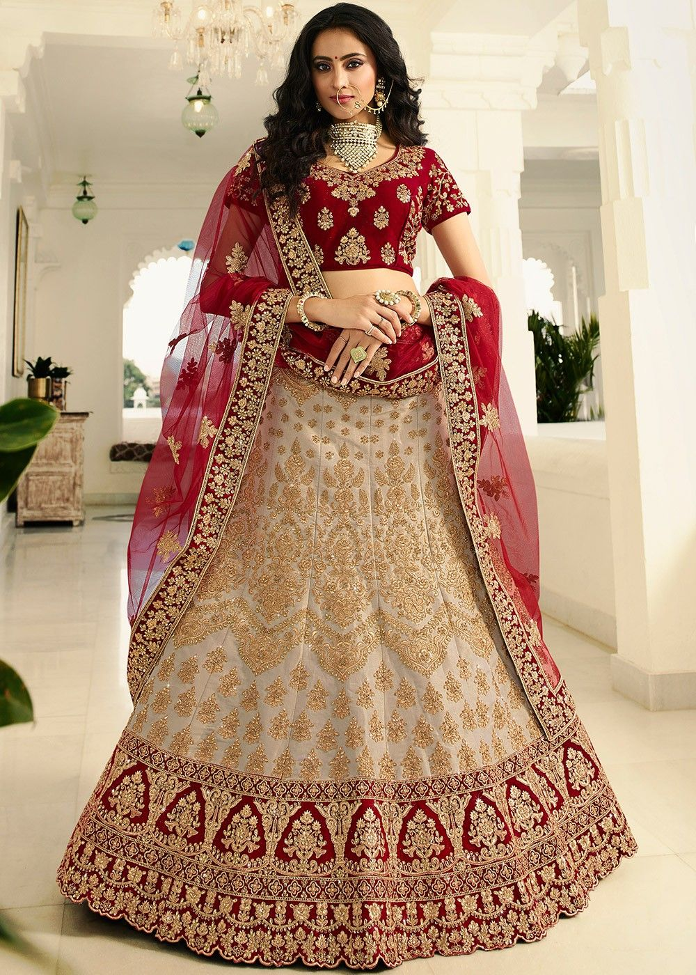 Beige Embroidered Bridal Lehenga Choli