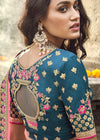 Woven Art Silk Jacquard Lehenga in Teal Blue