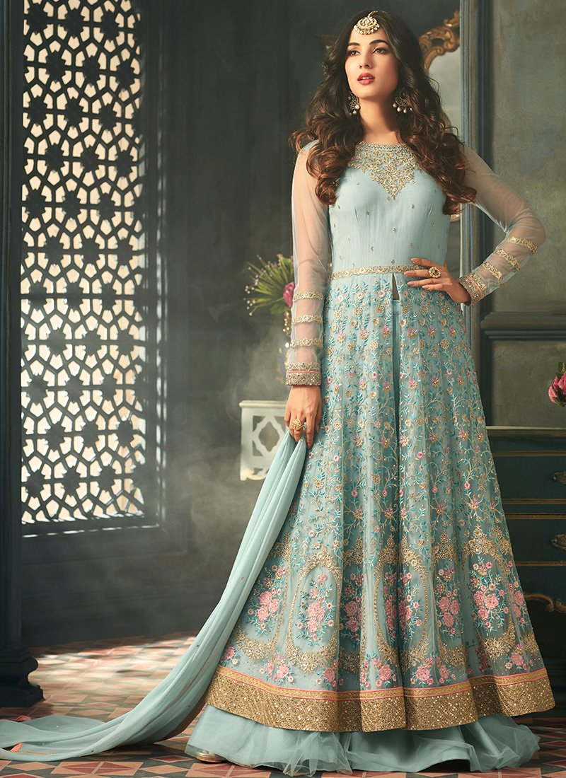 Embroidered Net Anarkali Suit in Light Blue