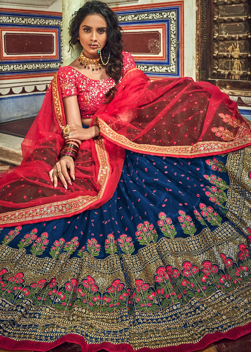 Blue Embroidered Lehenga with Red Choli