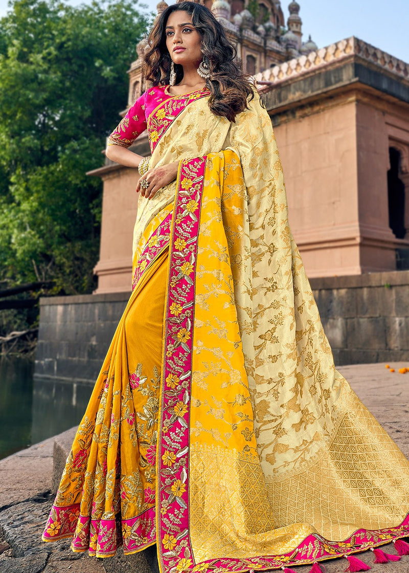Art Silk Jacquard Saree in Beige and Yellow