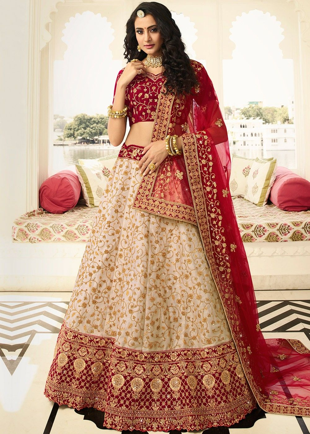 Beige Silk Lehenga with Maroon Velvet Choli
