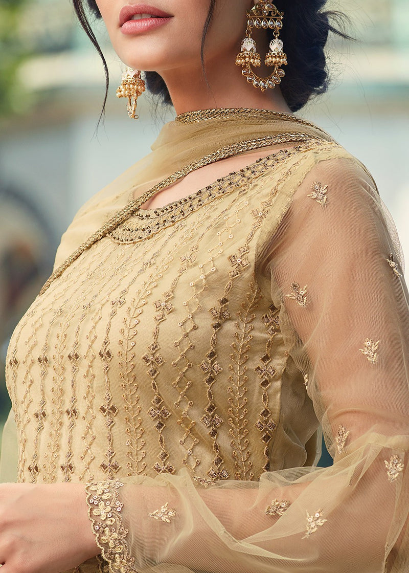 Beige Embroidered Net Gharara Suit