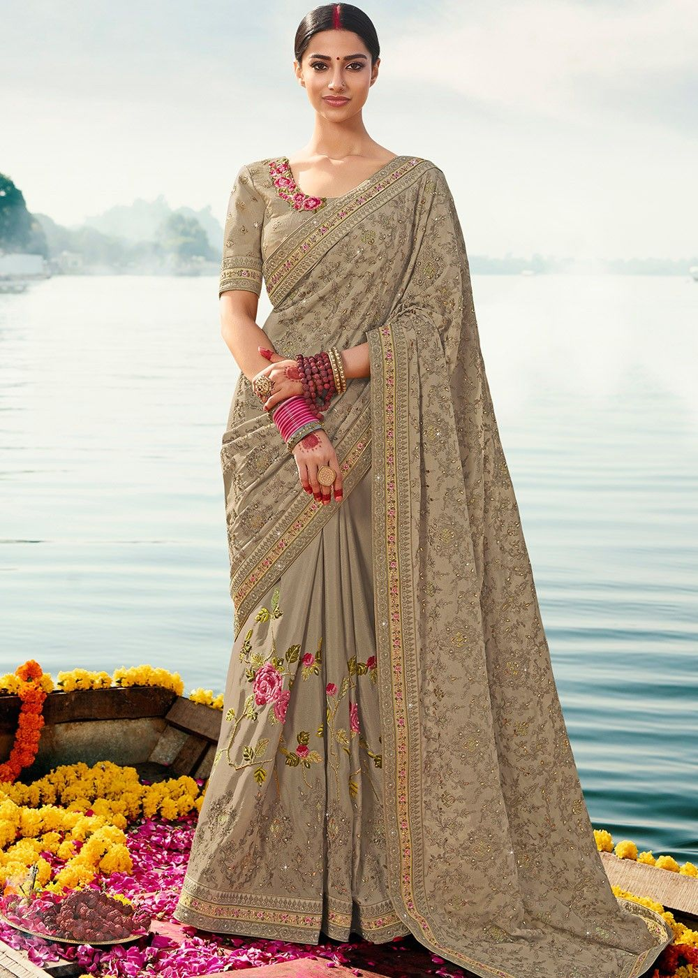 Beige Embroidered Chiffon Saree