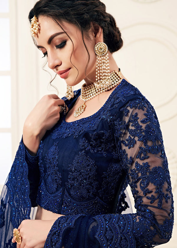 Dark Blue Lehenga With Full Sleeve Choli