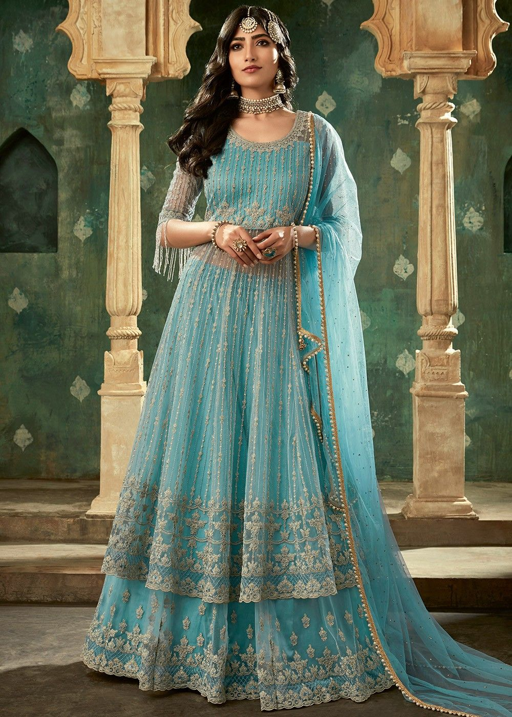 Embroidered Net Kurti Style Lehenga in Blue