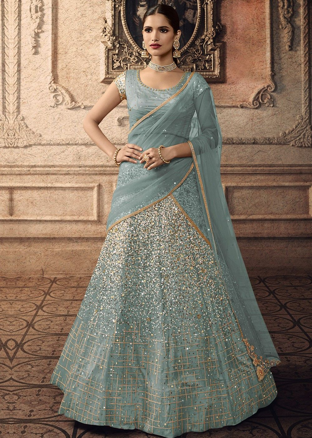 Embroidered Net Lehenga in Blue