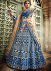 Embroidered Velvet Lehenga in Blue