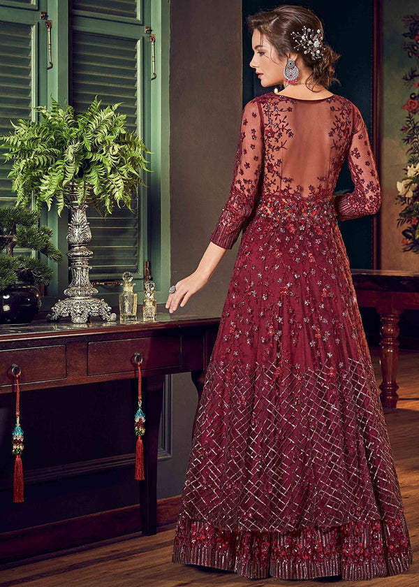Embroidered Net Pant Style Suit in Maroon