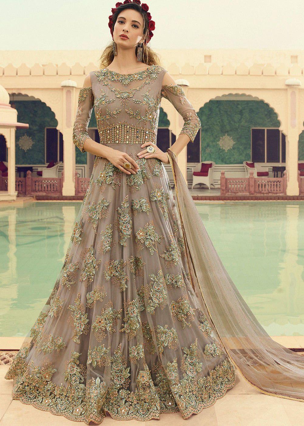 Cold Shoulder Embroidered Net Anarkali Suit in Fawn