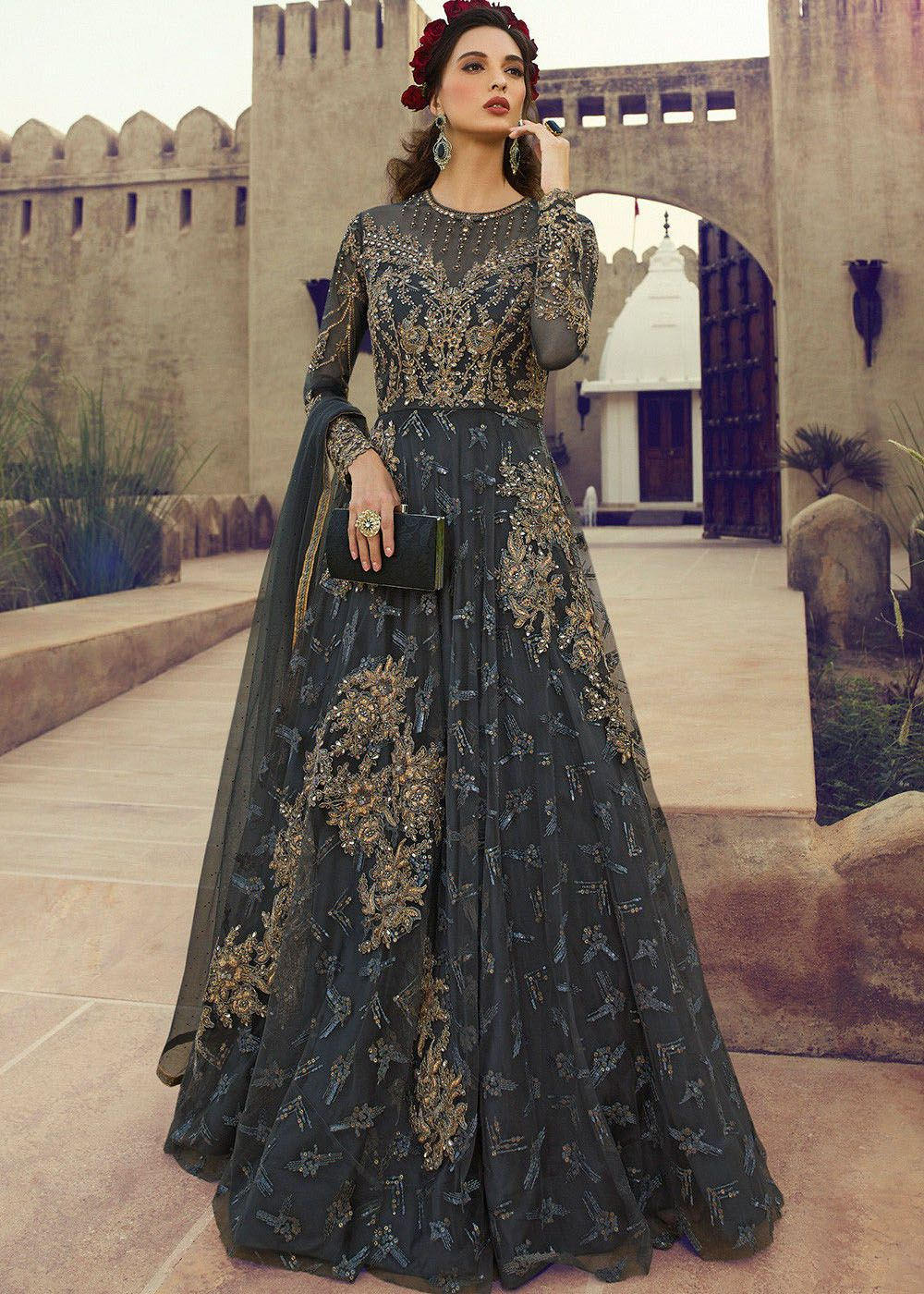 Embroidered Net Floor Length Anarkali in Grey