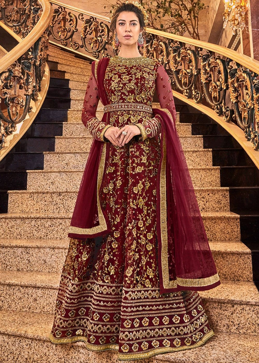 Embroidered Wedding Anarkali Salwar Kameez in Maroon