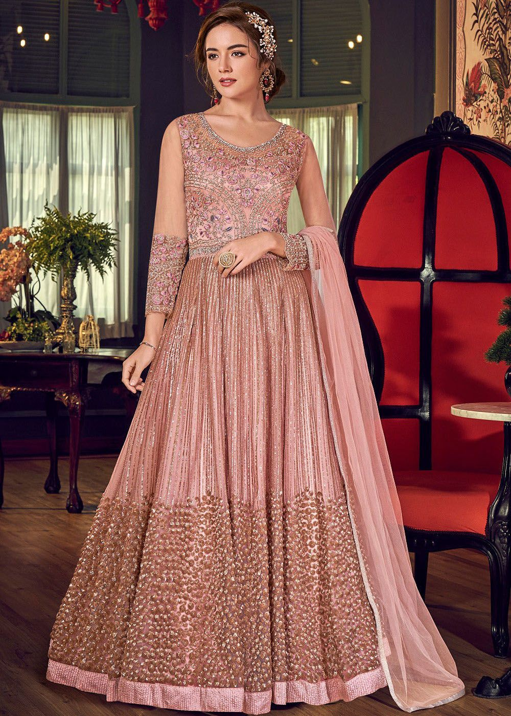Embroidered Floor Length Abaya Style Suit in Peach