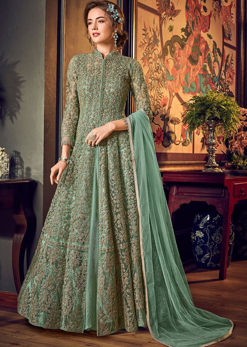 Embroidered Net Anarkali Suit in Sea Green
