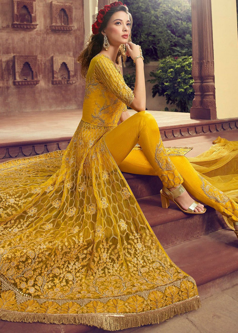 Embroidered Net Pant Style Suit in Yellow