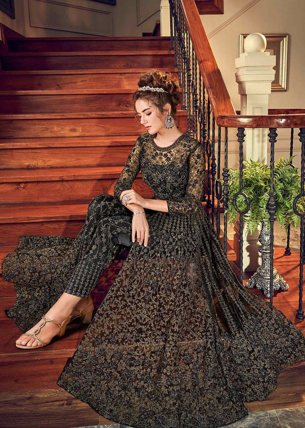 Embroidered Net Pant Style Suit in Black