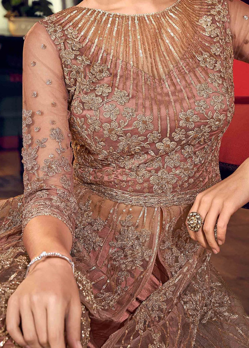 Embroidered Pant Style Suit in Rose Gold
