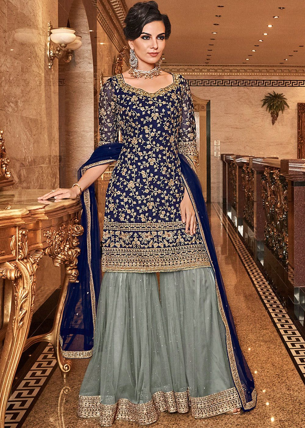 Embroidered Net Sharara Suit in Navy Blue