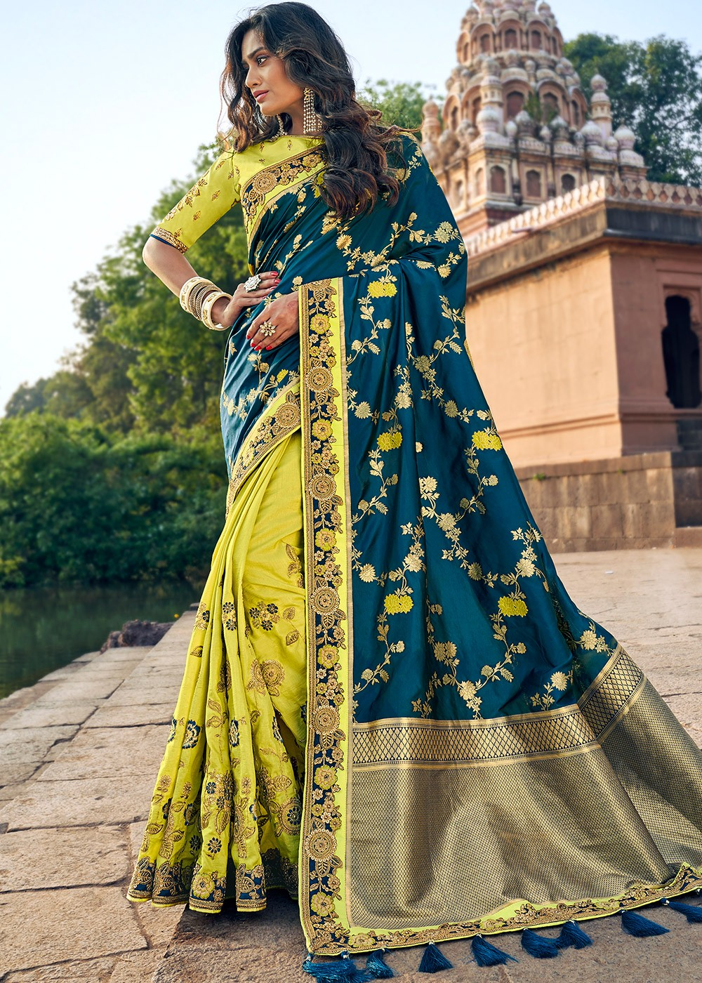 Art Silk Jacquard Saree in Teal Blue and Light Green