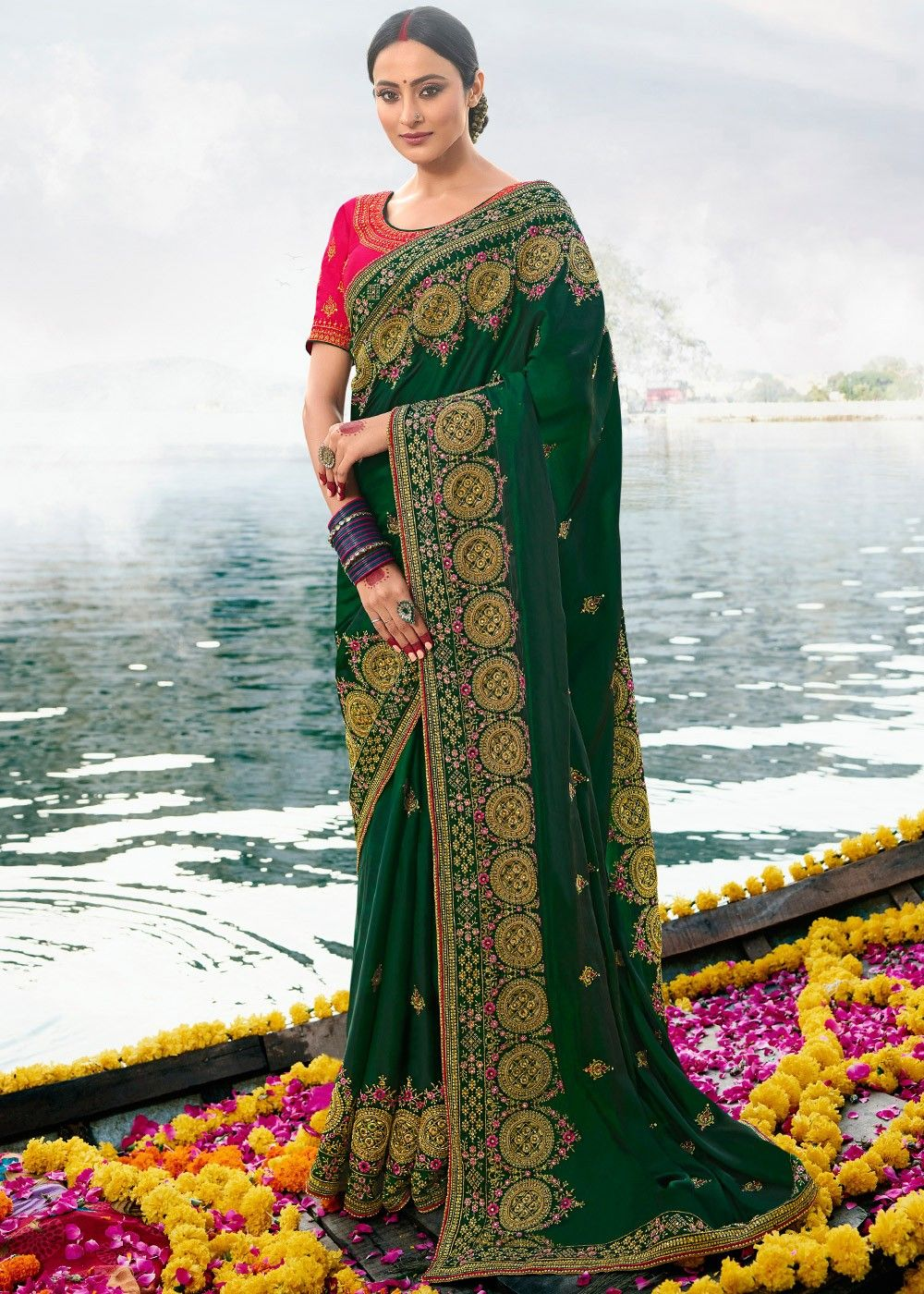 Green Embroidered Art Silk Saree with Red Blouse