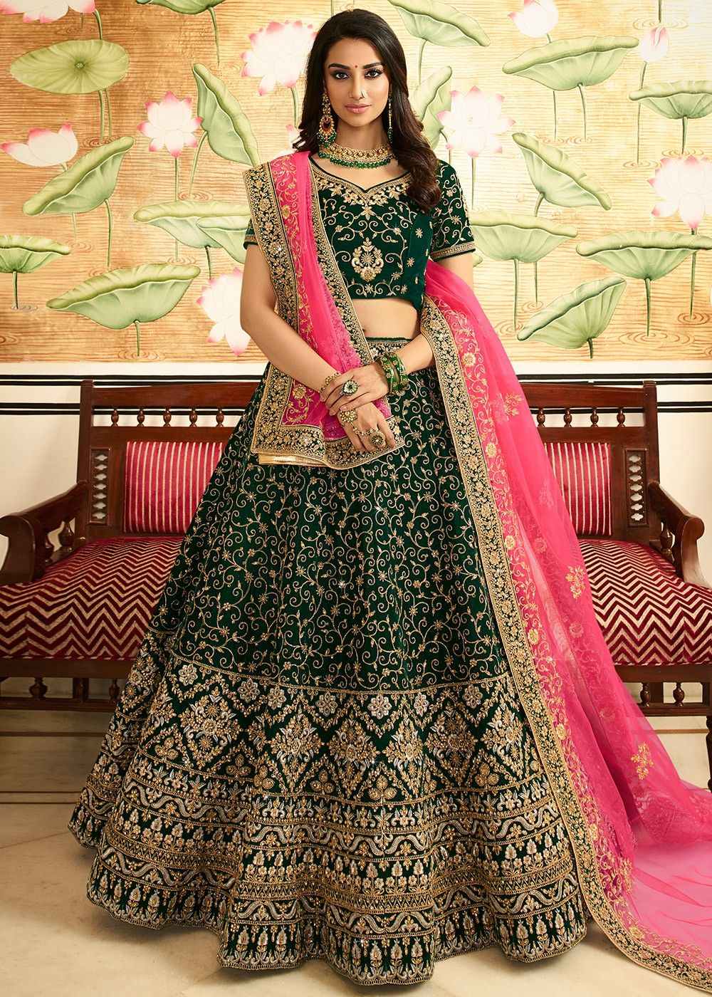 Bridal Velvet Lehenga in Green
