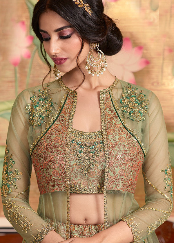 Green Embroidered Lehenga Choli With Jacket