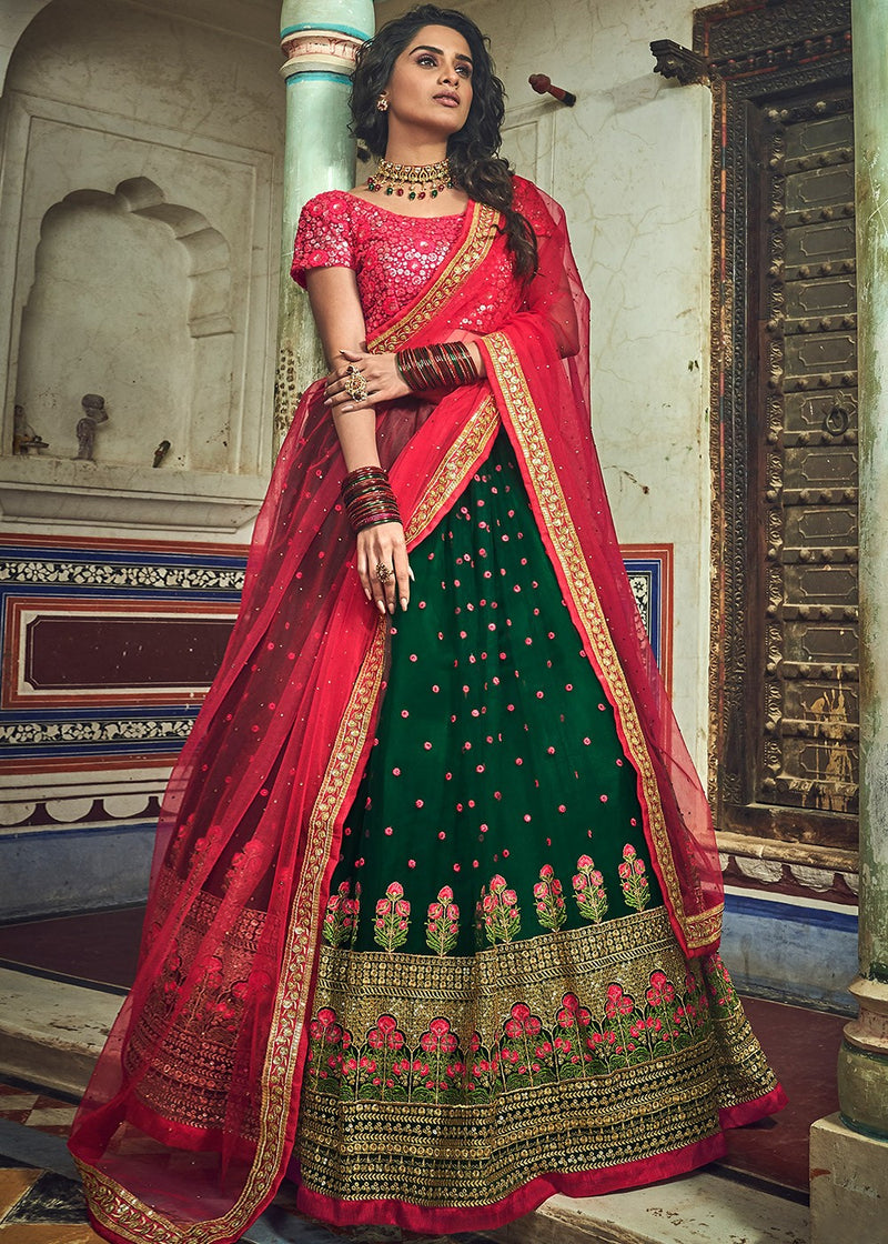 Green Embroidered Lehenga with Red Choli