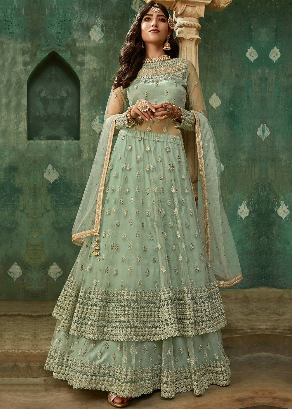 Embroidered Net Kurti Style Lehenga in Green