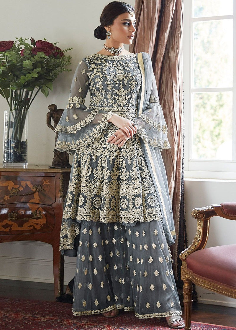 Bell Sleeved Embroidered Sharara Suit in Grey