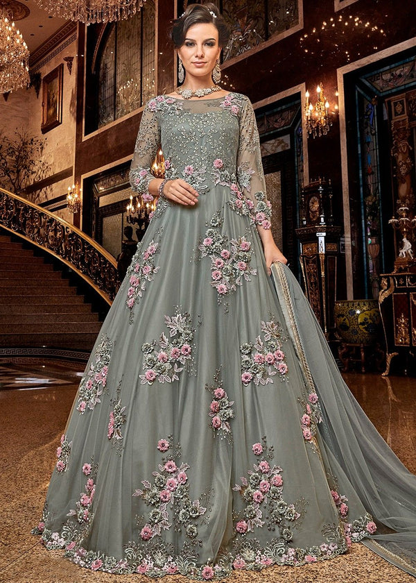 Floral Embroidered Anarkali Salwar Kameez in Grey