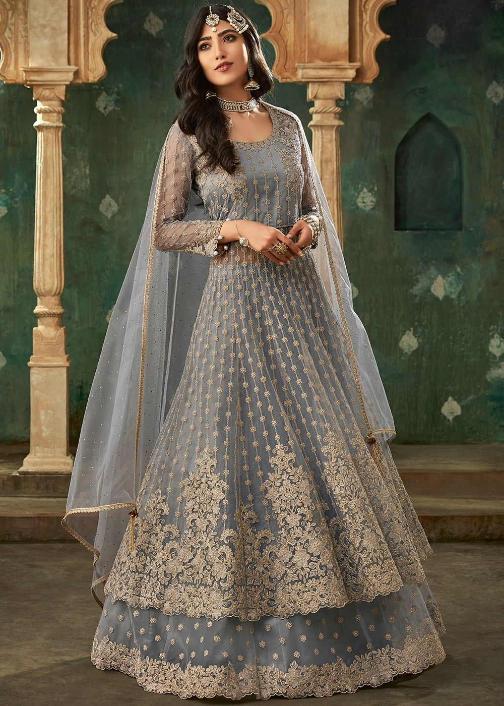 Embroidered Net Kurti Style Lehenga in Grey