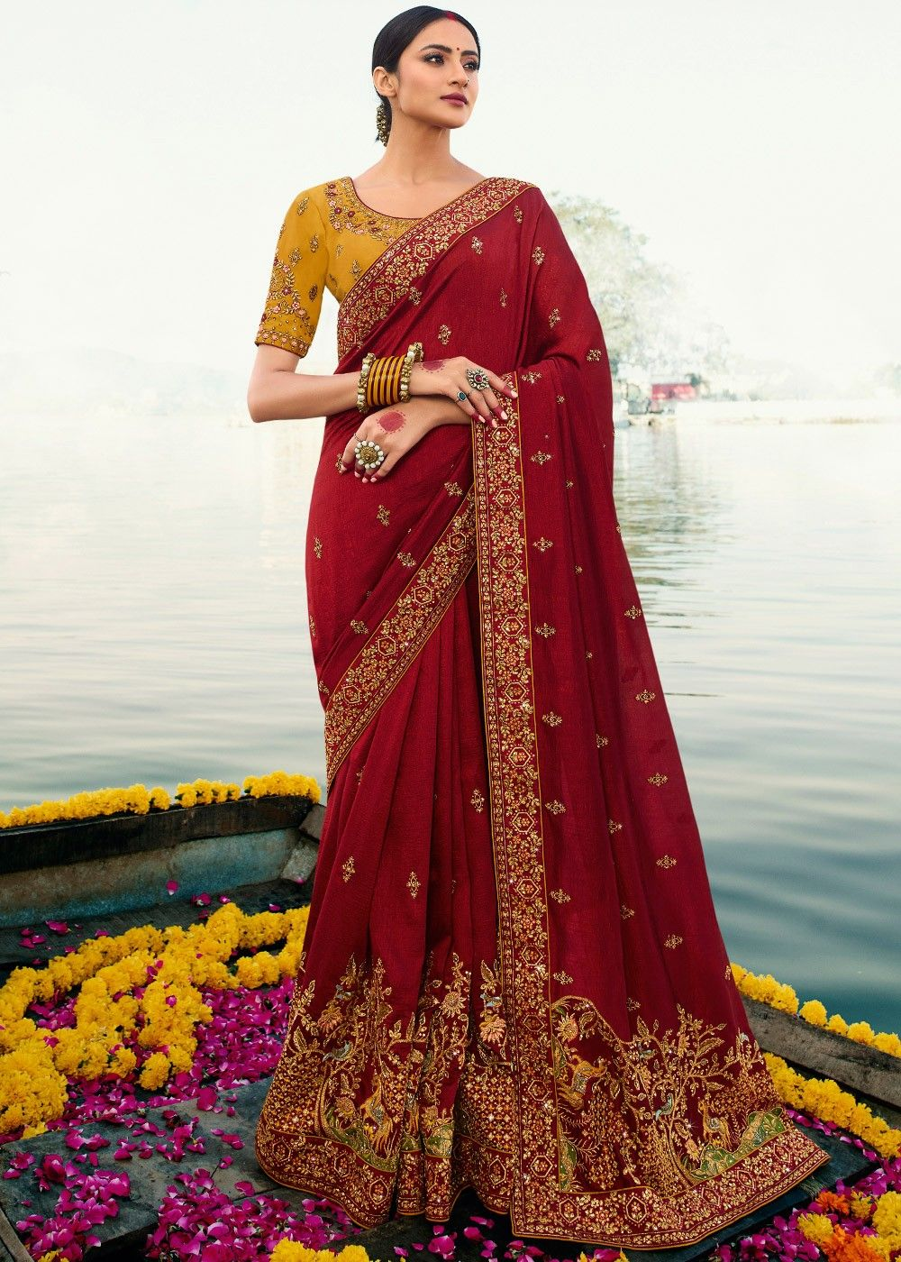 Maroon Embroidered Art Silk Saree with Yellow Blouse