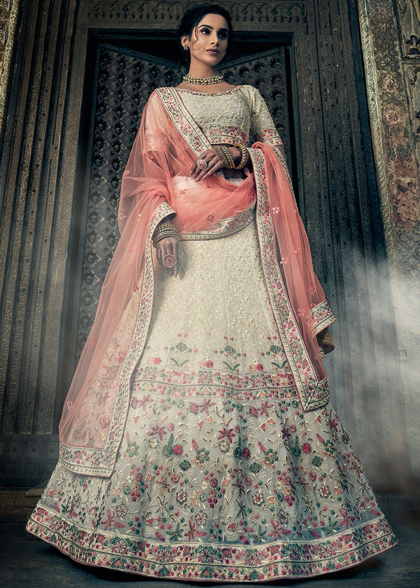 Embroidered Georgette Lehenga Choli in Off White