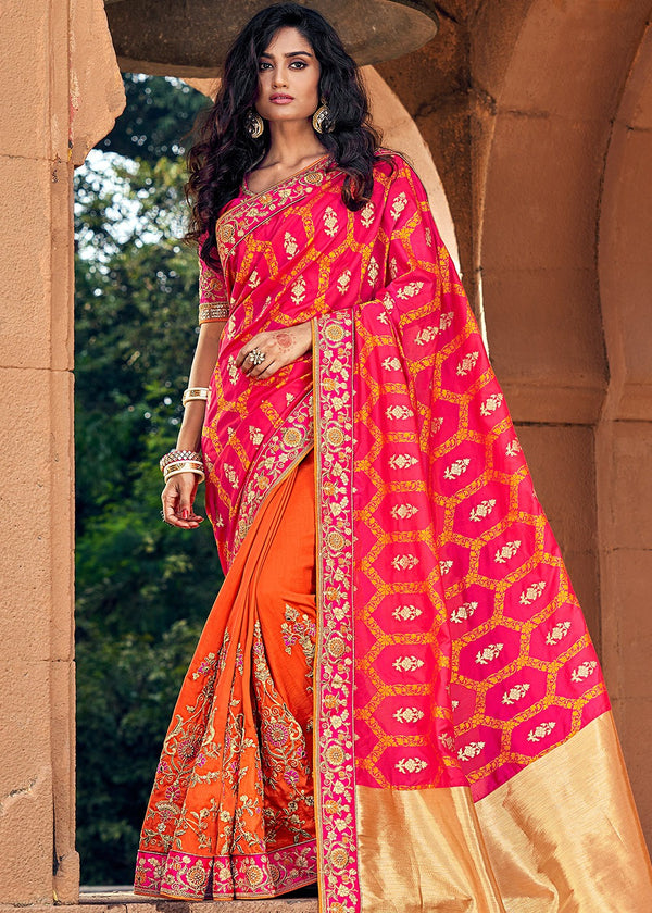 Art Silk Jacquard Saree in Pink and Orange