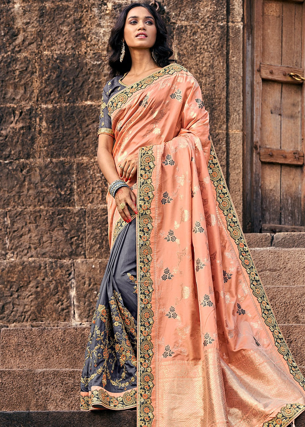 Art Silk Jacquard Saree in Peach and Grey