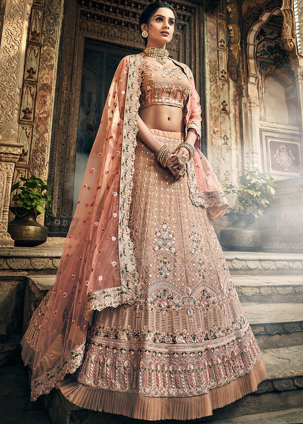 Embroidered Georgette Lehenga in Light Beige