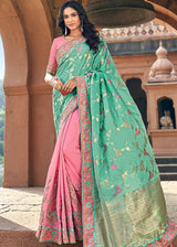 Art Silk Jacquard Saree in Sea Green and Pink