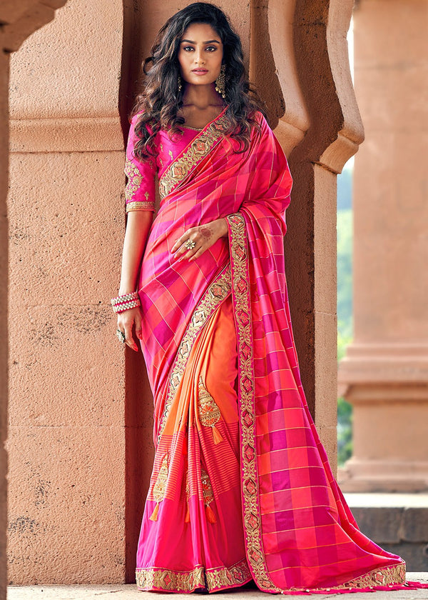 Art Silk Jacquard Saree in Fuchsia and Orange