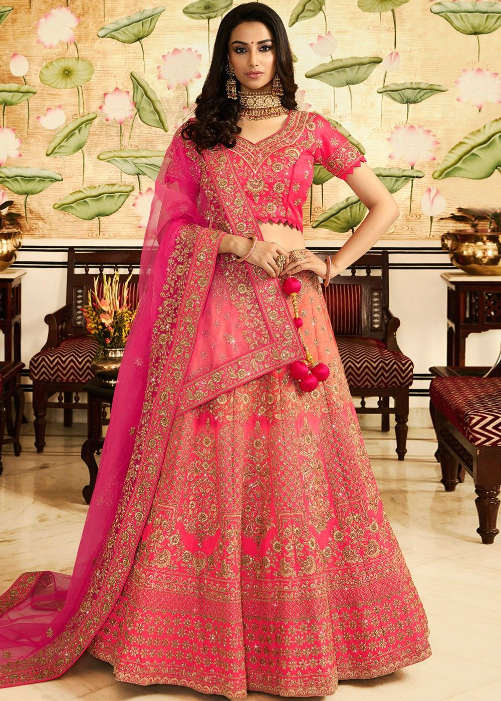 Silk Wedding Lehenga Choli in Pink