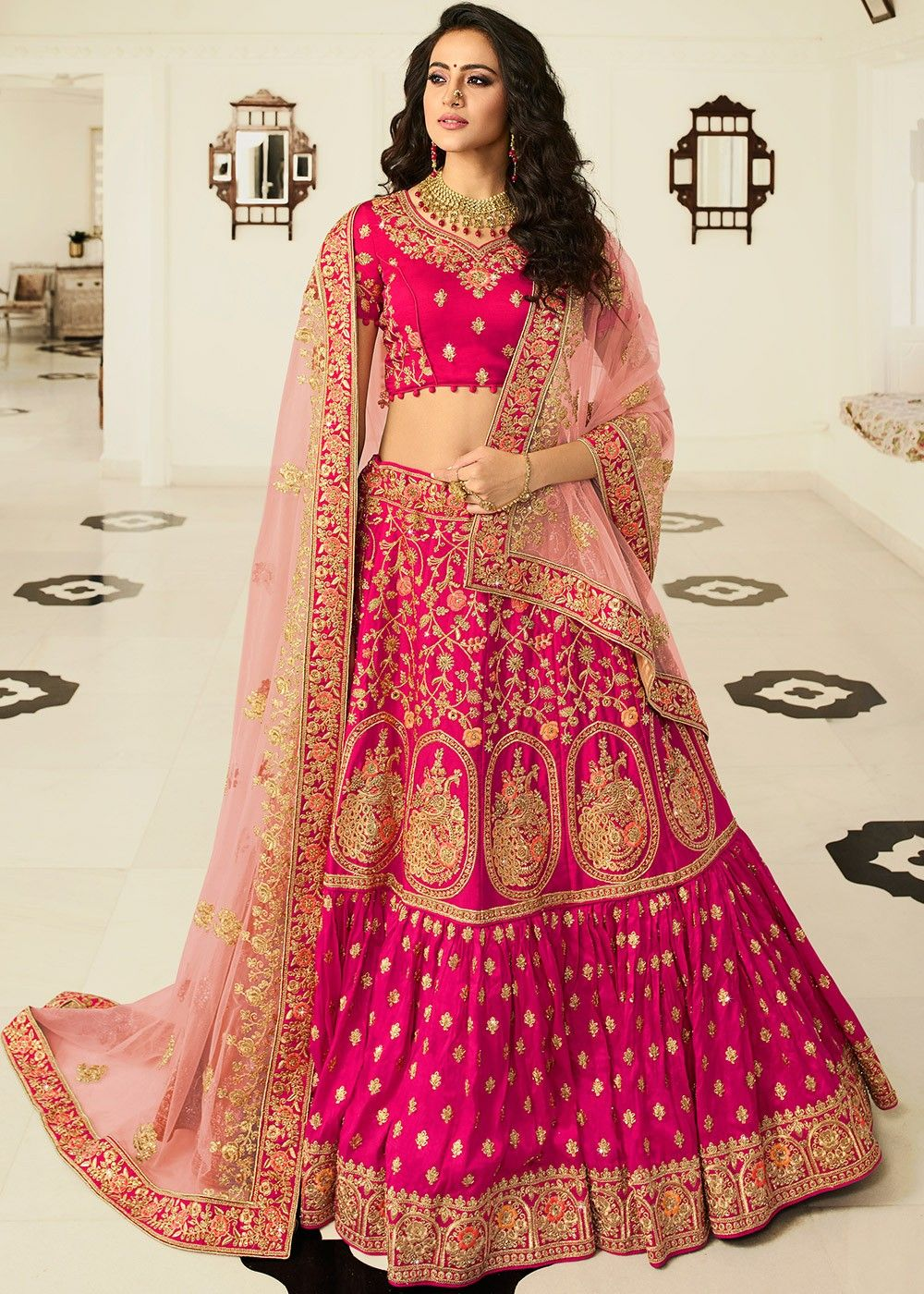 Silk Bridal Lehenga Choli in Pink
