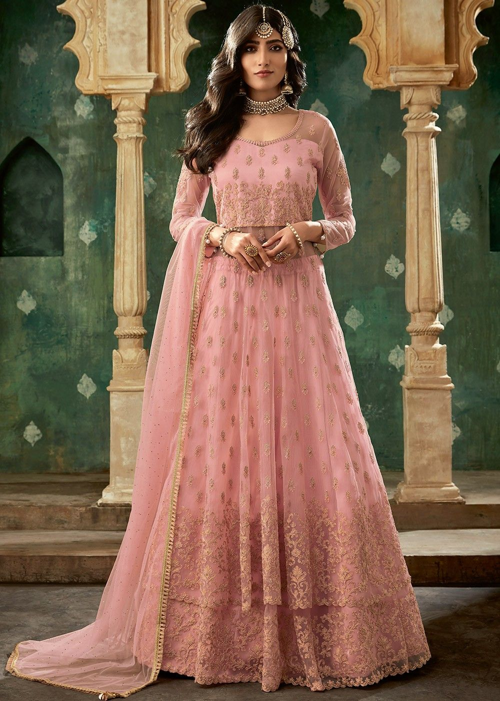 Embroidered Net Kurti Style Lehenga in Pink