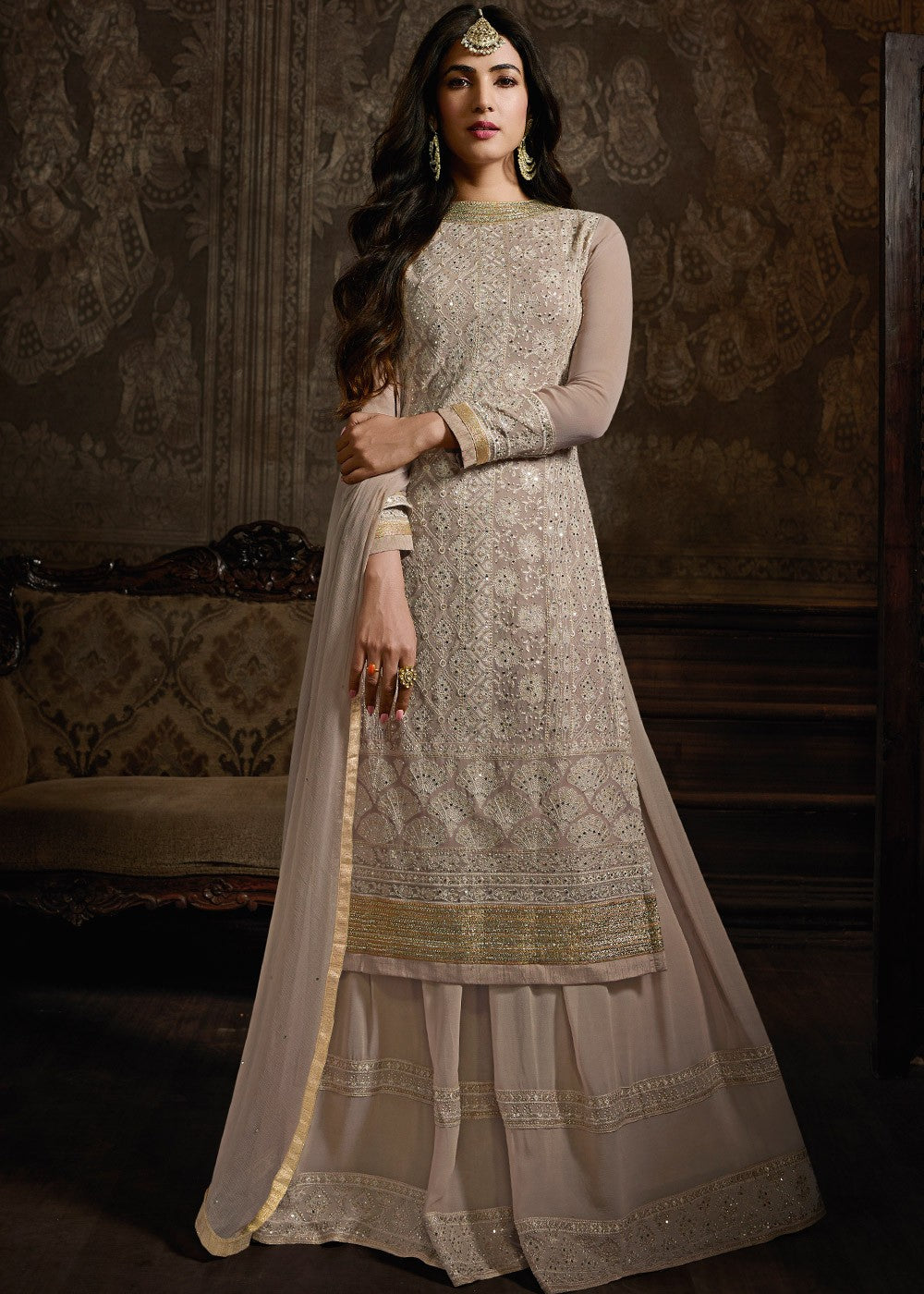 Embroidered Georgette Sharara Suit in Light Peach