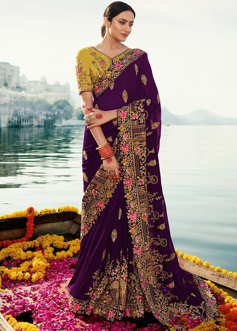Purple Embroidered Art Silk Saree with Yellow Blouse
