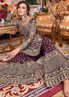 Embroidered Net Sharara Suit in Wine Color