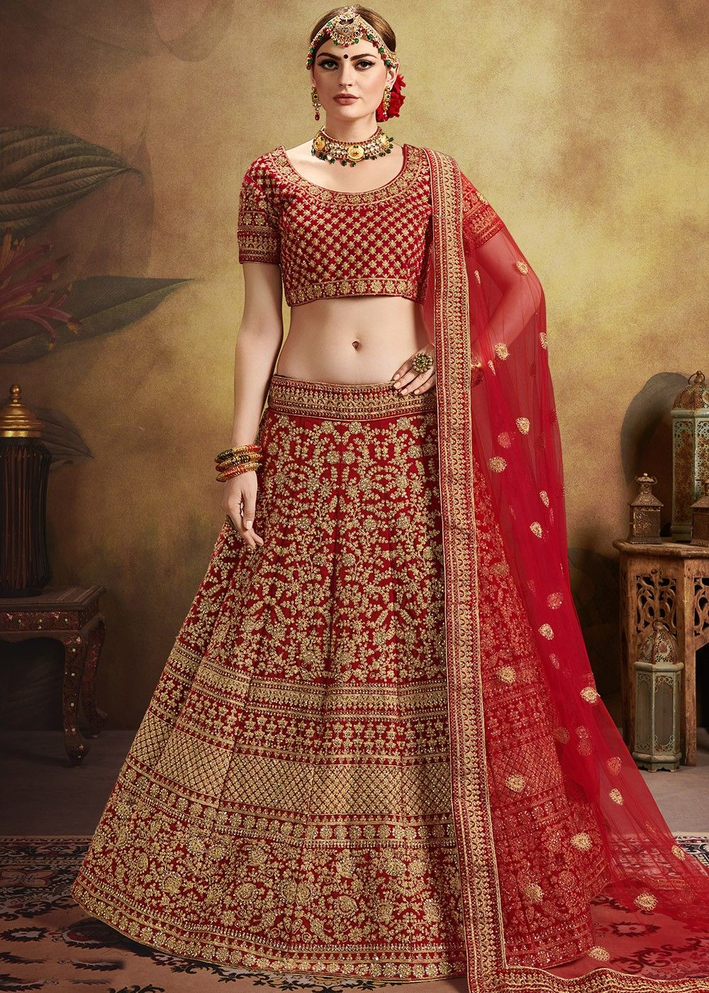 Red Embroidered Velvet Bridal Lehenga