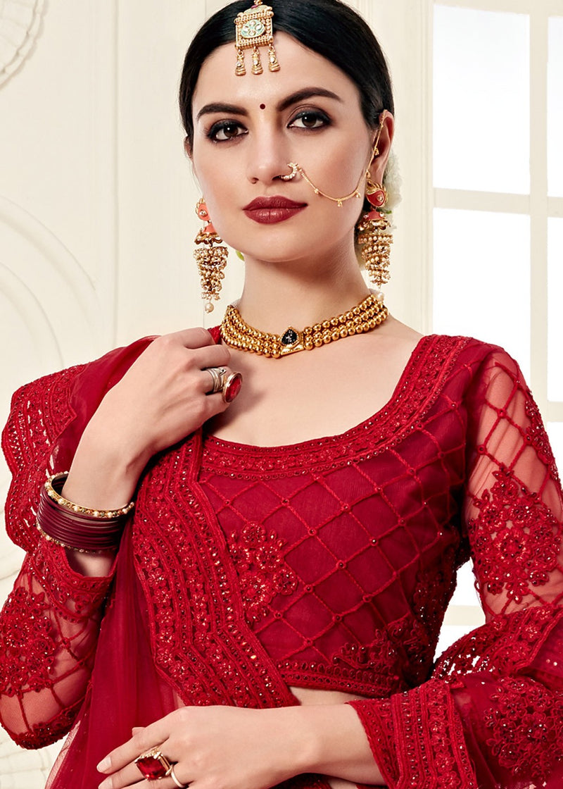 Red Embroidered Lehenga With Full Sleeve Choli